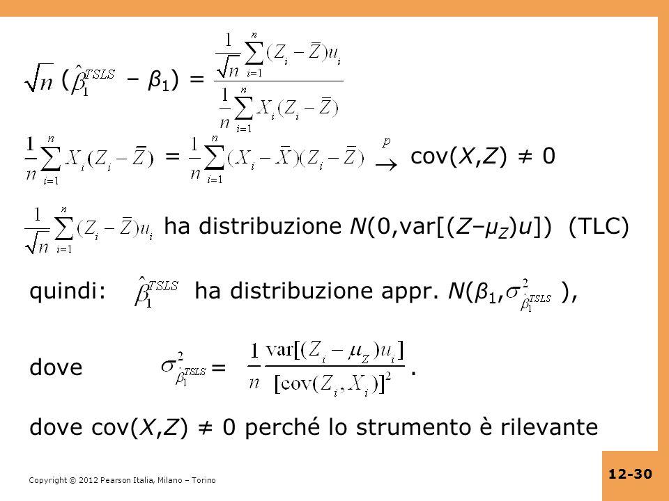 ( – β1) = = cov(X,Z) ≠ 0 ha distribuzione N(0,var[(Z–μZ)u]) (TLC) quindi: ha distribuzione appr.
